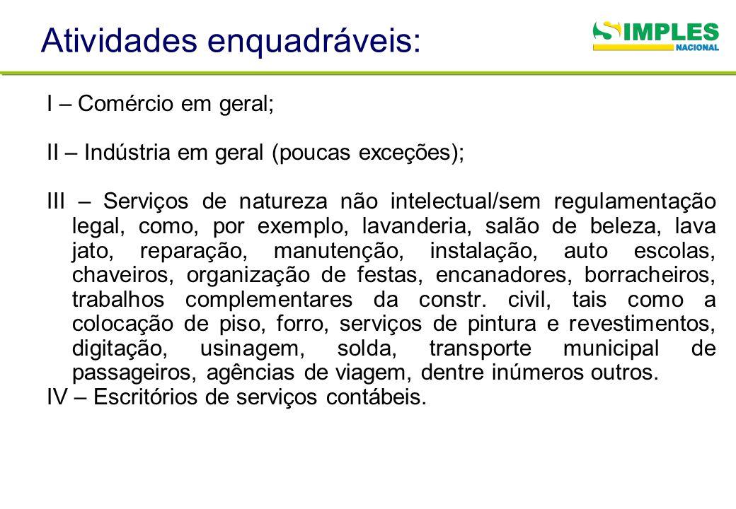 Atividades enquadráveis: I – Comércio em geral; II – Indústria em geral (poucas exceções); III – Serviços de natureza não intelectual/sem regulamentaç