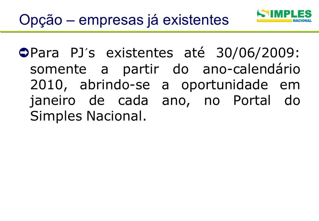 Opção – empresas já existentes Para PJ´s existentes até 30/06/2009: somente a partir do ano-calendário 2010, abrindo-se a oportunidade em janeiro de c