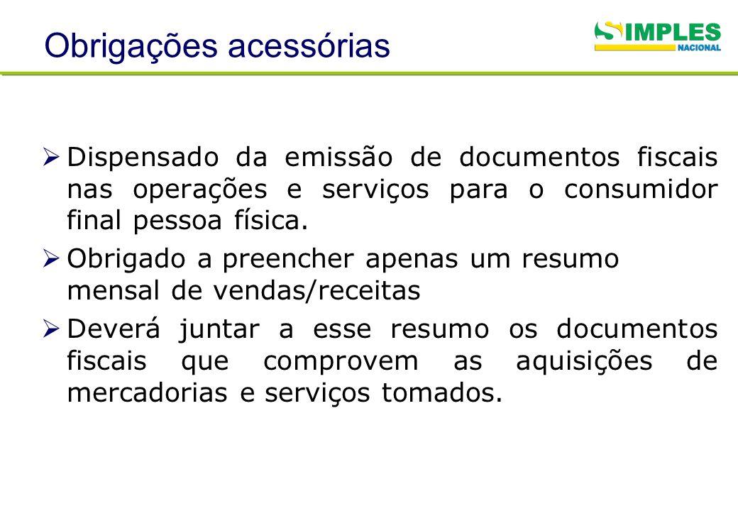 Obrigações acessórias Dispensado da emissão de documentos fiscais nas operações e serviços para o consumidor final pessoa física. Obrigado a preencher