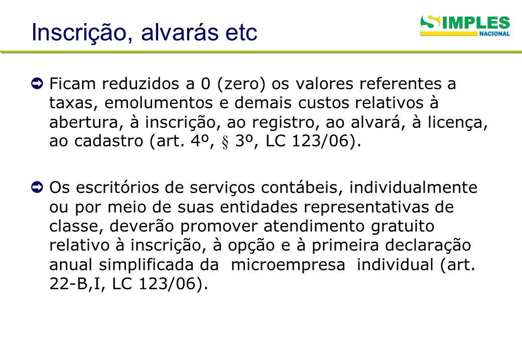 Inscrição, alvarás etc Ficam reduzidos a 0 (zero) os valores referentes a taxas, emolumentos e demais custos relativos à abertura, à inscrição, ao reg