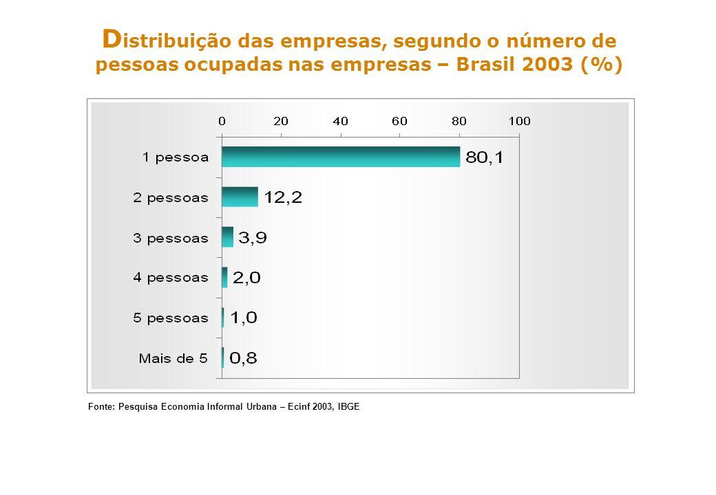 ss D istribuição das empresas, segundo o número de pessoas ocupadas nas empresas – Brasil 2003 (%) Fonte: Pesquisa Economia Informal Urbana – Ecinf 20