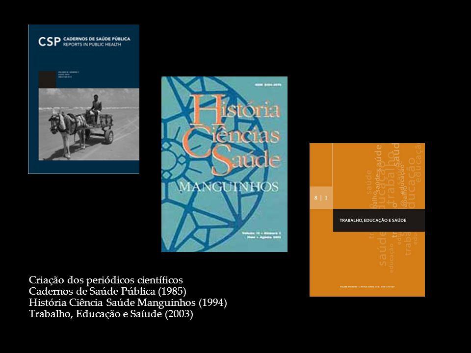 Criação dos periódicos científicos Cadernos de Saúde Pública (1985) História Ciência Saúde Manguinhos (1994) Trabalho, Educação e Saíude (2003)