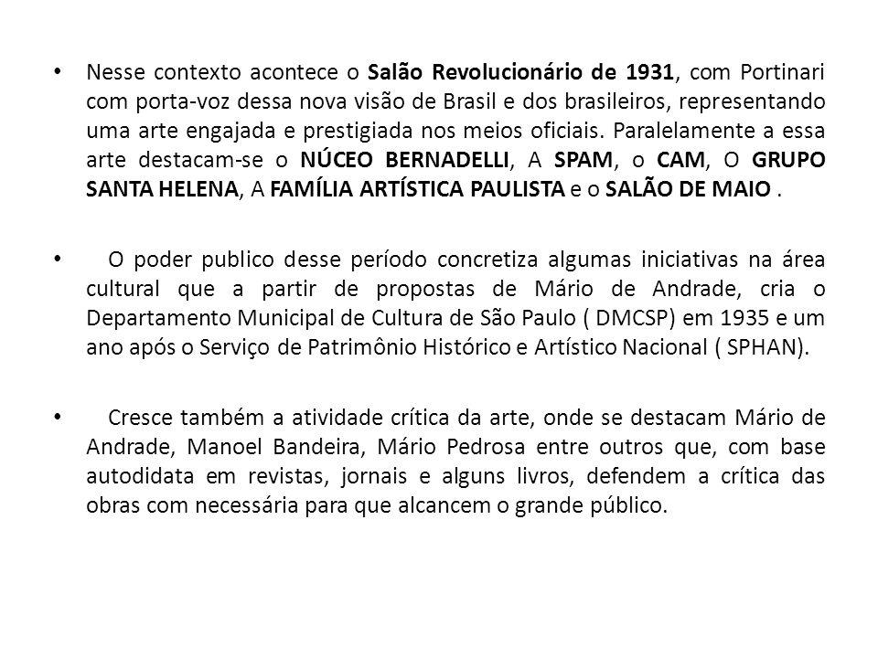 Nesse contexto acontece o Salão Revolucionário de 1931, com Portinari com porta-voz dessa nova visão de Brasil e dos brasileiros, representando uma arte engajada e prestigiada nos meios oficiais.