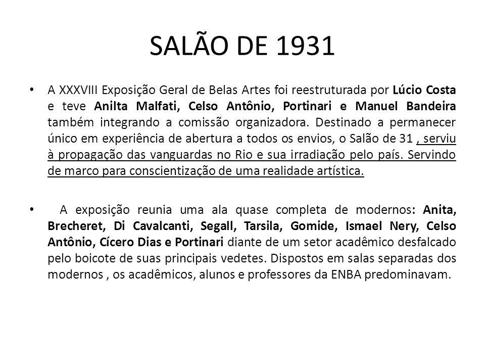 SALÃO DE 1931 A XXXVIII Exposição Geral de Belas Artes foi reestruturada por Lúcio Costa e teve Anilta Malfati, Celso Antônio, Portinari e Manuel Bandeira também integrando a comissão organizadora.
