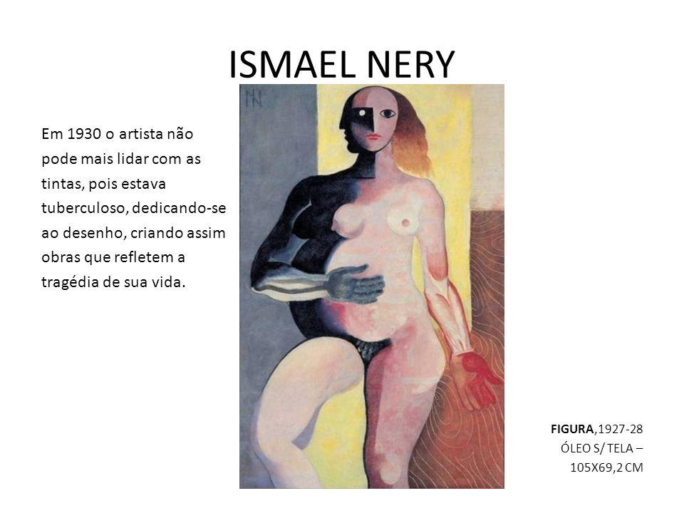 ISMAEL NERY Em 1930 o artista não pode mais lidar com as tintas, pois estava tuberculoso, dedicando-se ao desenho, criando assim obras que refletem a tragédia de sua vida.