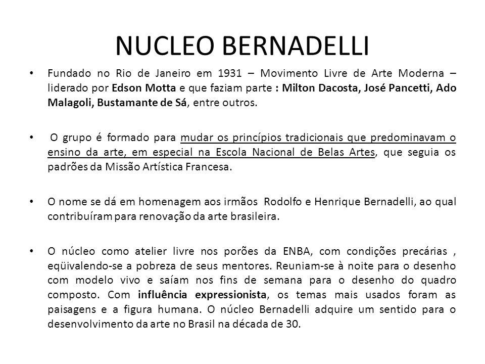 NUCLEO BERNADELLI Fundado no Rio de Janeiro em 1931 – Movimento Livre de Arte Moderna – liderado por Edson Motta e que faziam parte : Milton Dacosta, José Pancetti, Ado Malagoli, Bustamante de Sá, entre outros.