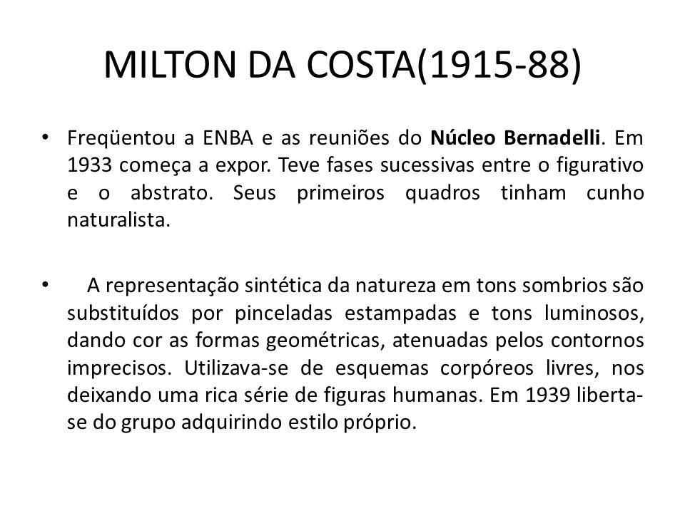 MILTON DA COSTA(1915-88) Freqüentou a ENBA e as reuniões do Núcleo Bernadelli.