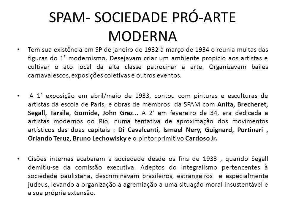 SPAM- SOCIEDADE PRÓ-ARTE MODERNA Tem sua existência em SP de janeiro de 1932 à março de 1934 e reunia muitas das figuras do 1 º modernismo.