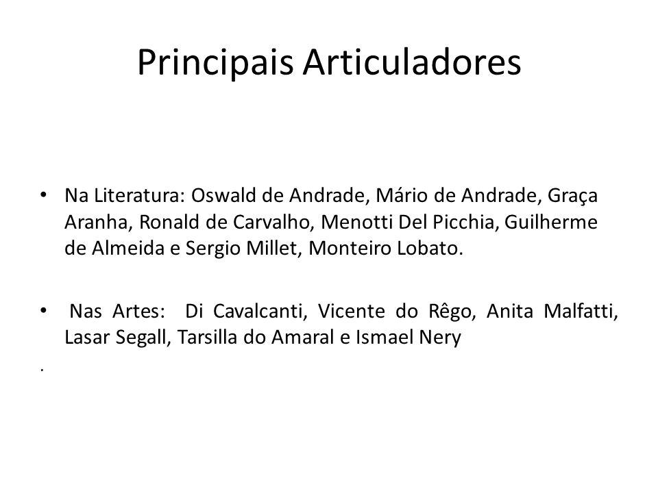 Principais Articuladores Na Literatura: Oswald de Andrade, Mário de Andrade, Graça Aranha, Ronald de Carvalho, Menotti Del Picchia, Guilherme de Almeida e Sergio Millet, Monteiro Lobato.