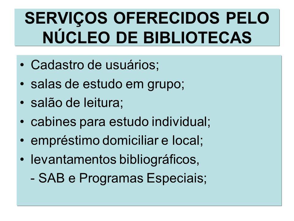 SERVIÇOS OFERECIDOS PELO NÚCLEO DE BIBLIOTECAS Cadastro de usuários; salas de estudo em grupo; salão de leitura; cabines para estudo individual; empré