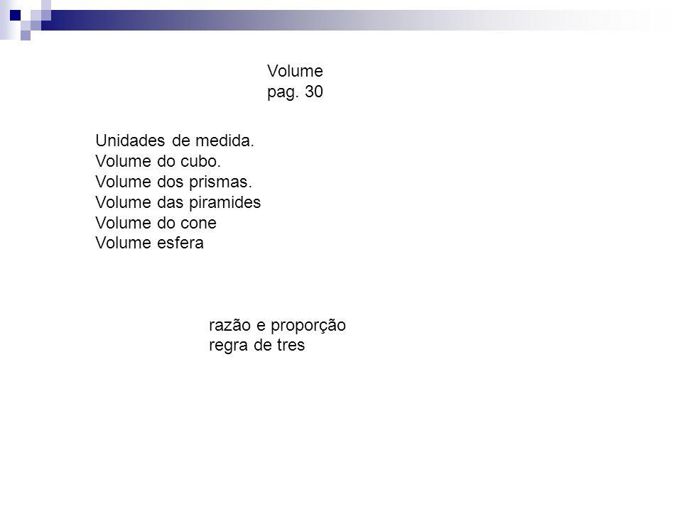 Unidades de medida. Volume do cubo. Volume dos prismas. Volume das piramides Volume do cone Volume esfera razão e proporção regra de tres Volume pag.