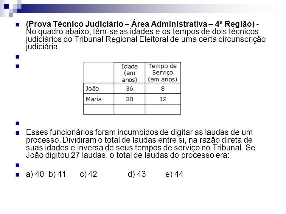 (Prova Técnico Judiciário – Área Administrativa – 4ª Região) - No quadro abaixo, têm-se as idades e os tempos de dois técnicos judiciários do Tribunal