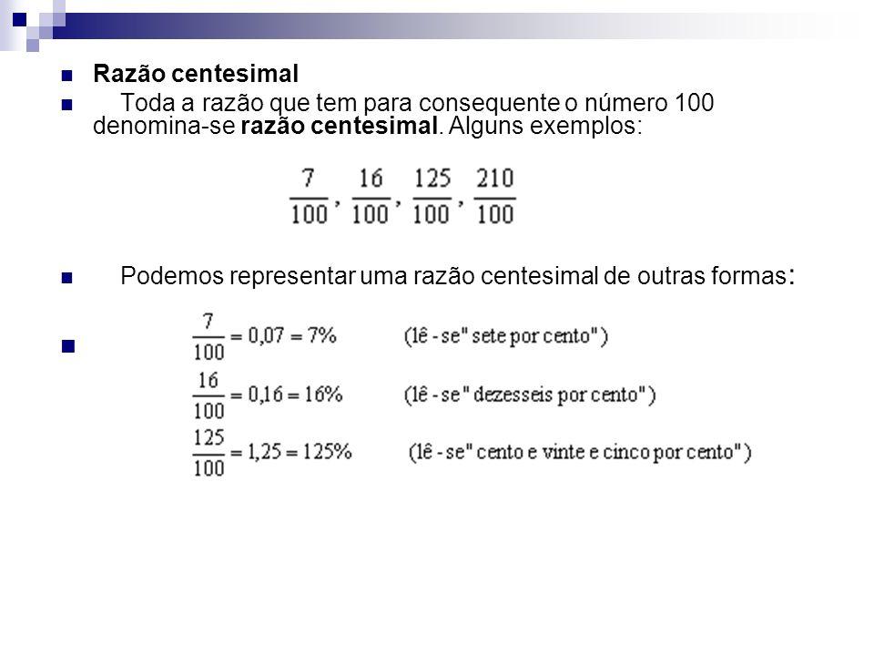 Razão centesimal Toda a razão que tem para consequente o número 100 denomina-se razão centesimal. Alguns exemplos: Podemos representar uma razão cente