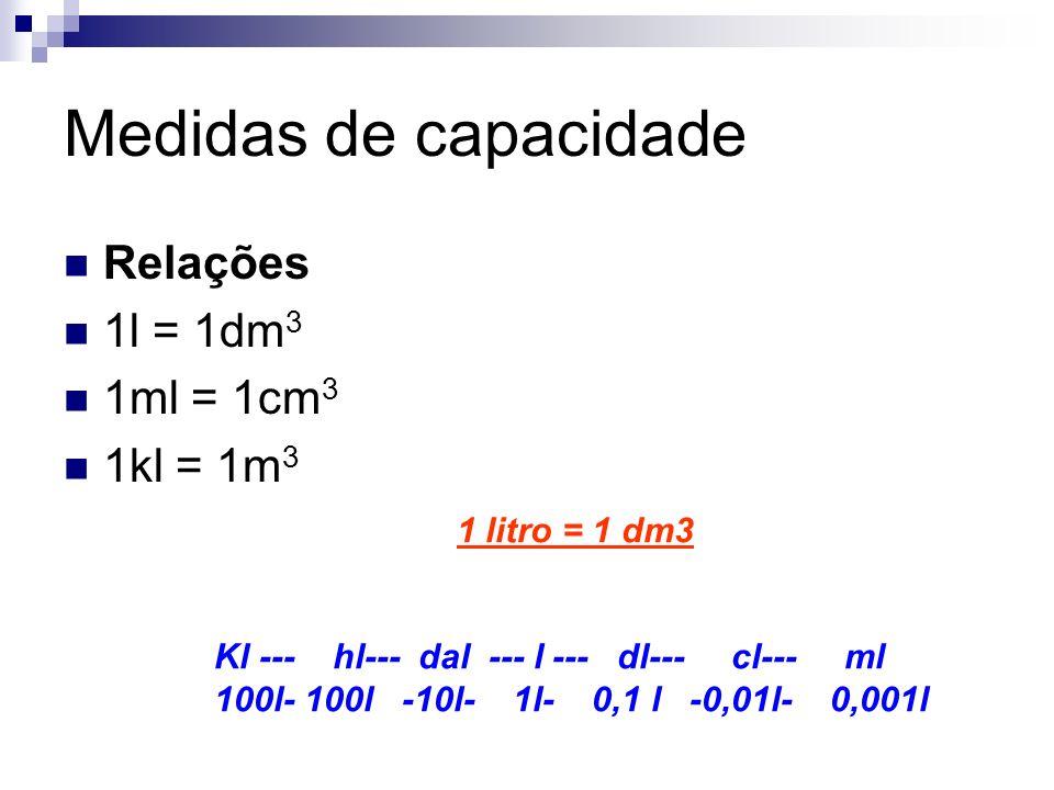 Medidas de capacidade Relações 1l = 1dm 3 1ml = 1cm 3 1kl = 1m 3 1 litro = 1 dm3 Kl --- hl--- dal --- l --- dl--- cl--- ml 100l- 100l -10l- 1l- 0,1 l