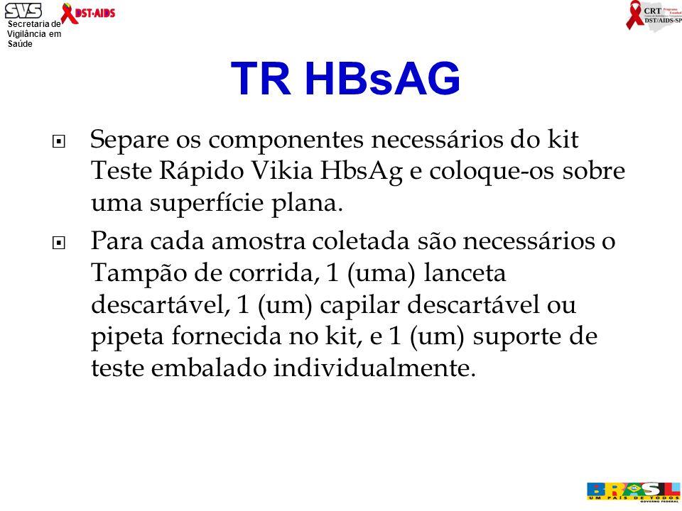 Secretaria de Vigilância em Saúde Ministério da Saúde Separe os componentes necessários do kit Teste Rápido Vikia HbsAg e coloque-os sobre uma superfície plana.