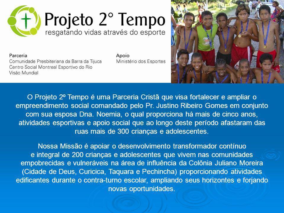 O Projeto 2º Tempo é uma Parceria Cristã que visa fortalecer e ampliar o empreendimento social comandado pelo Pr.