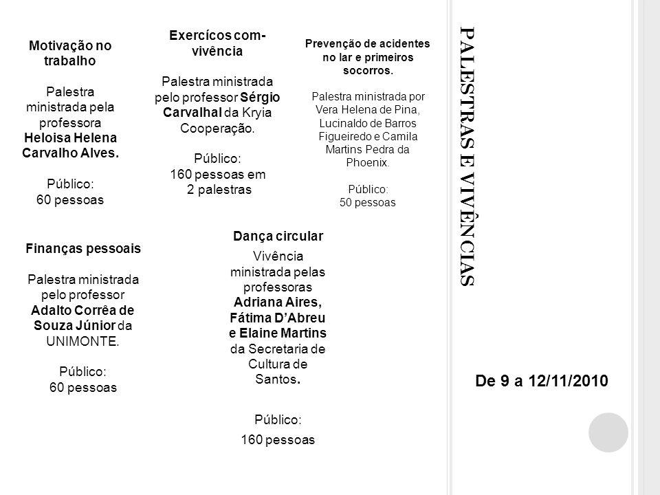 PALESTRAS E VIVÊNCIAS Motivação no trabalho Palestra ministrada pela professora Heloisa Helena Carvalho Alves.