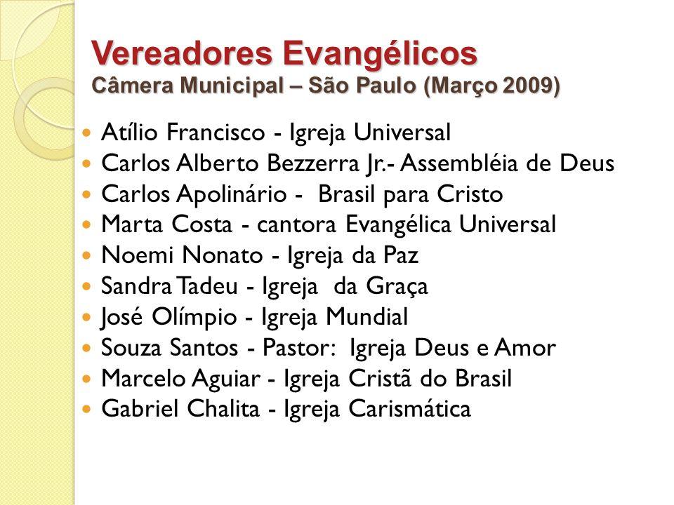 Vereadores Evangélicos Atílio Francisco - Igreja Universal Carlos Alberto Bezzerra Jr.- Assembléia de Deus Carlos Apolinário - Brasil para Cristo Mart