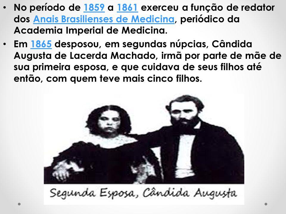 No período de 1859 a 1861 exerceu a função de redator dos Anais Brasilienses de Medicina, periódico da Academia Imperial de Medicina.18591861Anais Bra