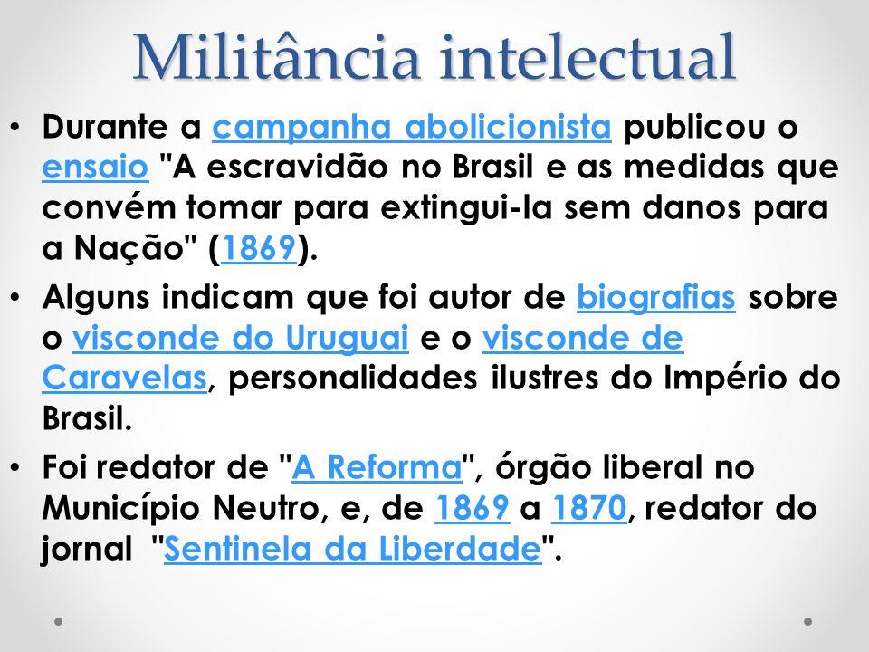 Militância intelectual Durante a campanha abolicionista publicou o ensaio