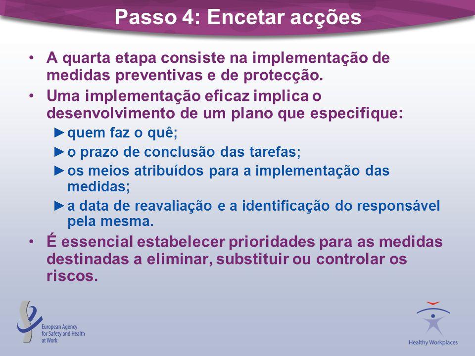 Passo 5: Monitorizar e reavaliar A eficácia das medidas preventivas deve ser monitorizada.