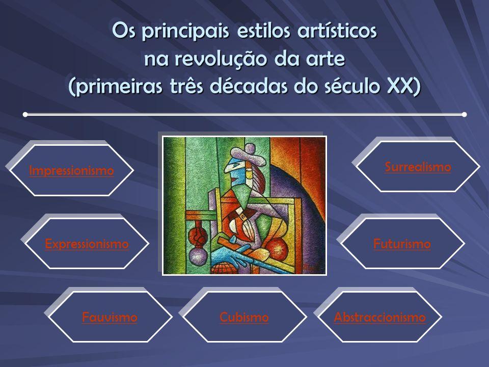 Os principais estilos artísticos na revolução da arte (primeiras três décadas do século XX) Impressionismo Expressionismo Fauvismo Cubismo Abstraccionismo Futurismo Surrealismo