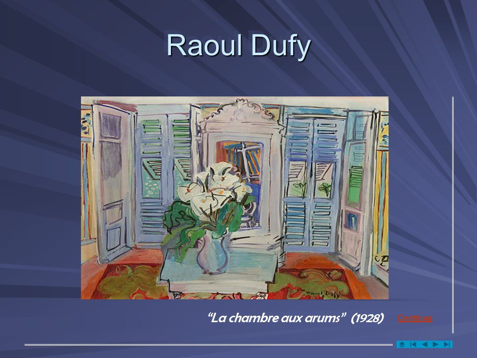 Raoul Dufy La chambre aux arums (1928) Continua