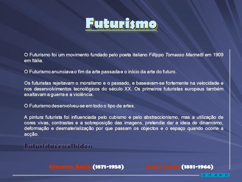 FuturismoFuturismo Futuristas escolhidos: O Futurismo foi um movimento fundado pelo poeta italiano Fillippo Tomasso Marinetti em 1909 em Itália.