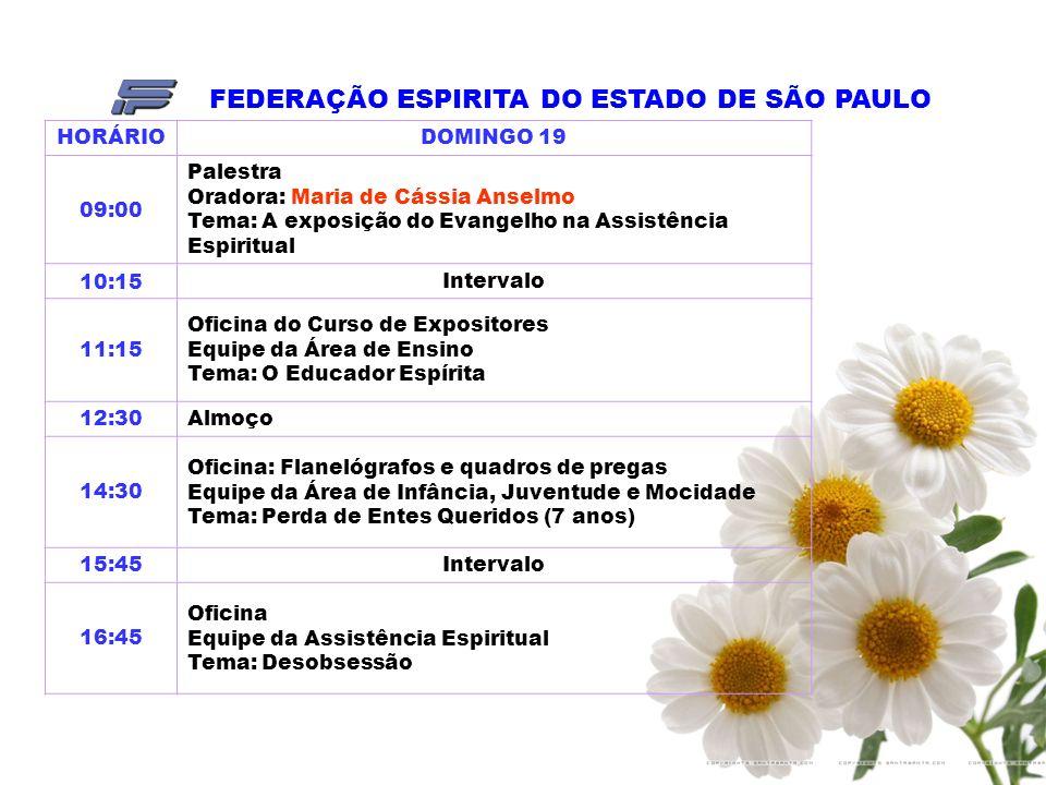 FEDERAÇÃO ESPIRITA DO ESTADO DE SÃO PAULO HORÁRIODOMINGO 19 09:00 Palestra Oradora: Maria de Cássia Anselmo Tema: A exposição do Evangelho na Assistência Espiritual 10:15Intervalo 11:15 Oficina do Curso de Expositores Equipe da Área de Ensino Tema: O Educador Espírita 12:30Almoço 14:30 Oficina: Flanelógrafos e quadros de pregas Equipe da Área de Infância, Juventude e Mocidade Tema: Perda de Entes Queridos (7 anos) 15:45Intervalo 16:45 Oficina Equipe da Assistência Espiritual Tema: Desobsessão