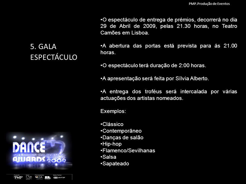5. GALA ESPECTÁCULO O espectáculo de entrega de prémios, decorrerá no dia 29 de Abril de 2009, pelas 21.30 horas, no Teatro Camões em Lisboa. A abertu