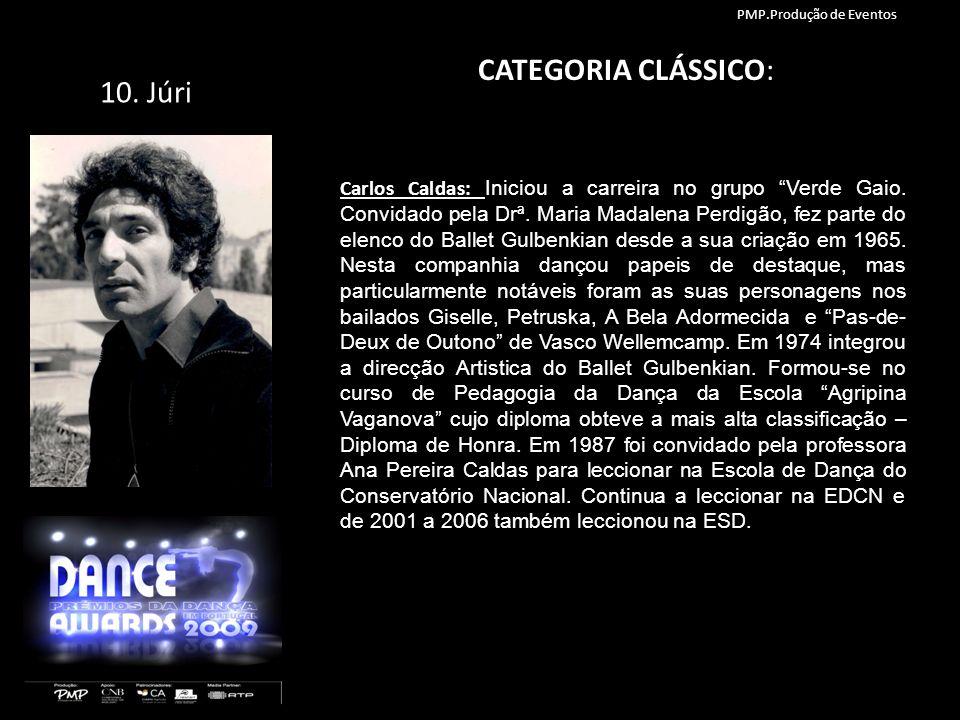 10. Júri CATEGORIA CLÁSSICO: Carlos Caldas: Iniciou a carreira no grupo Verde Gaio. Convidado pela Drª. Maria Madalena Perdigão, fez parte do elenco d