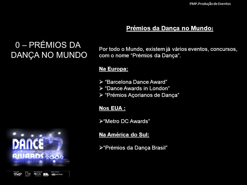 0 – PRÉMIOS DA DANÇA NO MUNDO Por todo o Mundo, existem já vários eventos, concursos, com o nome Prémios da Dança. Na Europa: Barcelona Dance Award Da
