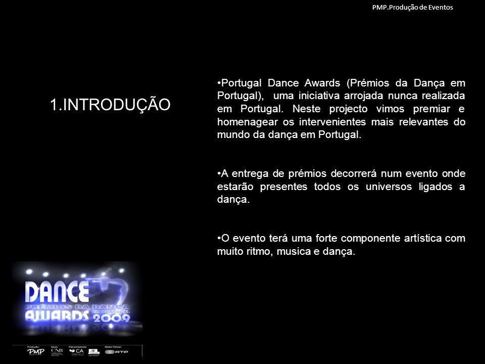 1.INTRODUÇÃO Portugal Dance Awards (Prémios da Dança em Portugal), uma iniciativa arrojada nunca realizada em Portugal. Neste projecto vimos premiar e