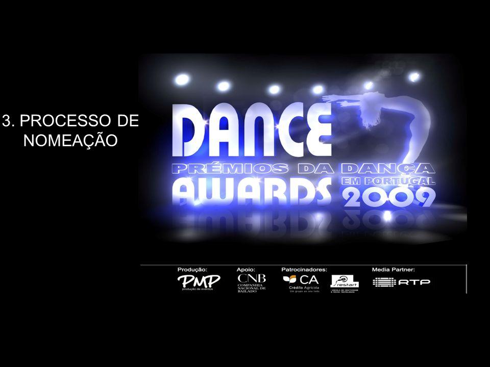 Processos de nomeação: Entre o dia 15 de Março e 31 de Março de 2009, o grupo de jurados vai apurar 3 nomeados de cada estilo de dança (CLÁSSICO/CONTEMPORÂNEO/ HIP – HOP/DANÇAS DE SALÃO/DANÇAS DO MUNDO) dentro das 4 categorias.