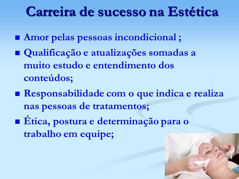 Carreira de sucesso na Estética Carreira de sucesso na Estética Amor pelas pessoas incondicional ; Qualificação e atualizações somadas a muito estudo