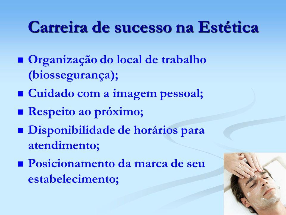 Carreira de sucesso na Estética Organização do local de trabalho (biossegurança); Cuidado com a imagem pessoal; Respeito ao próximo; Disponibilidade d