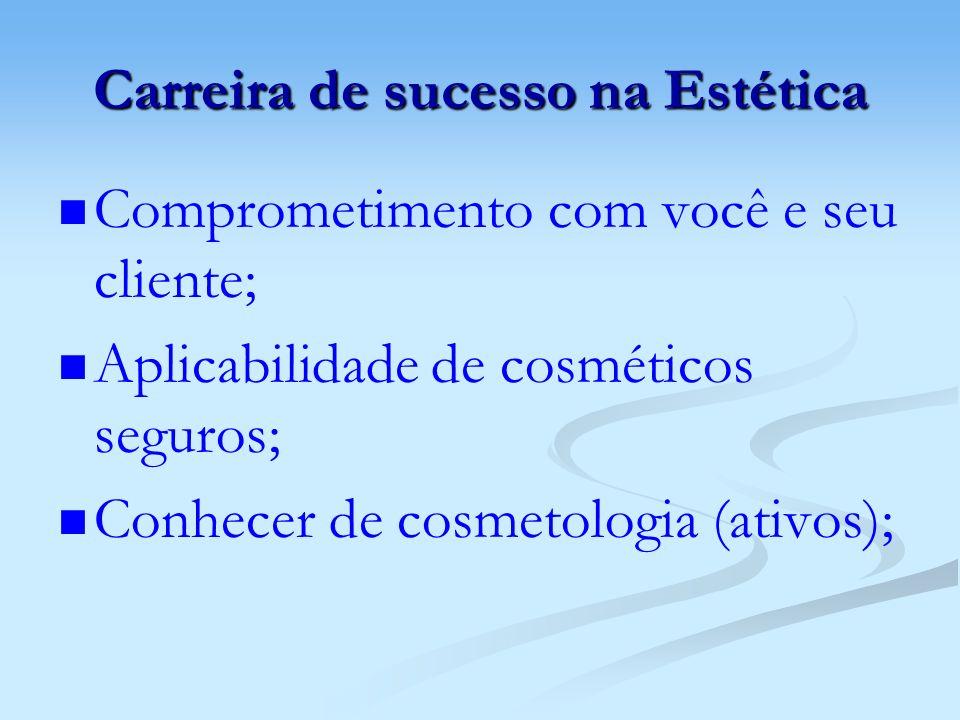 Carreira de sucesso na Estética Comprometimento com você e seu cliente; Aplicabilidade de cosméticos seguros; Conhecer de cosmetologia (ativos);