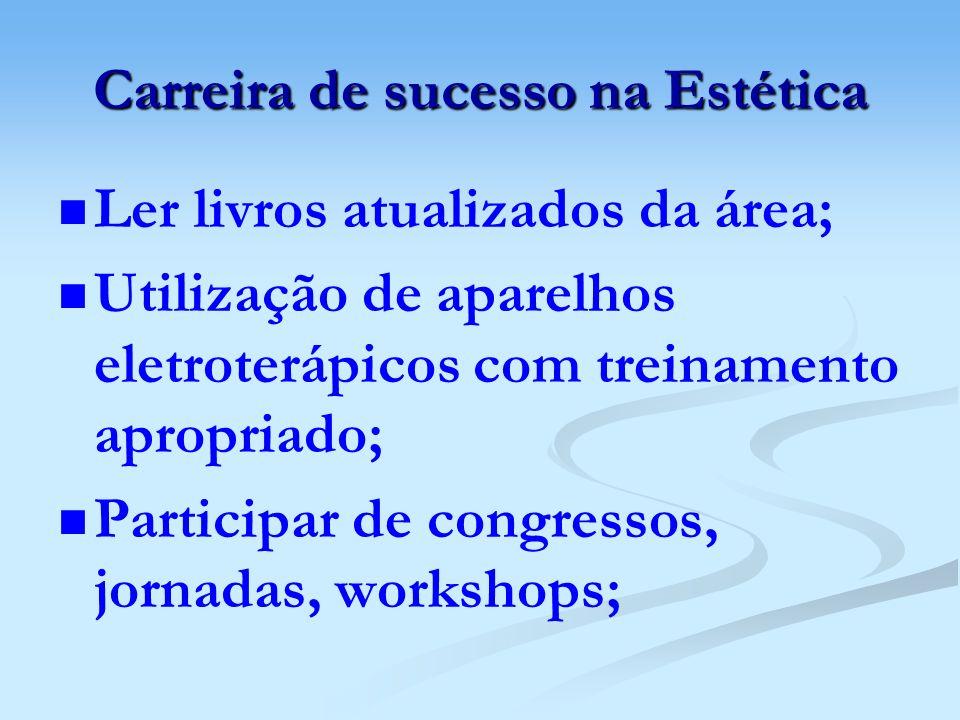 Carreira de sucesso na Estética Ler livros atualizados da área; Utilização de aparelhos eletroterápicos com treinamento apropriado; Participar de cong