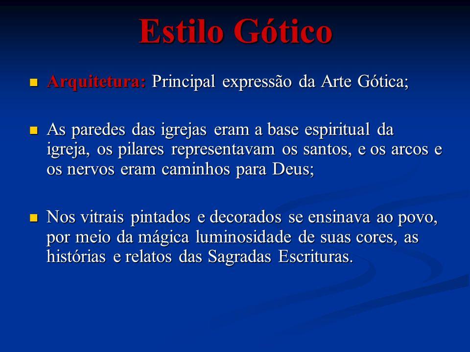 Arquitetura: Principal expressão da Arte Gótica; Arquitetura: Principal expressão da Arte Gótica; As paredes das igrejas eram a base espiritual da igr