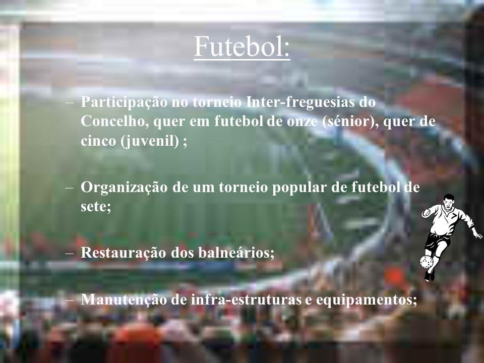 Futebol: –Participação no torneio Inter-freguesias do Concelho, quer em futebol de onze (sénior), quer de cinco (juvenil) ; –Organização de um torneio popular de futebol de sete; –Restauração dos balneários; –Manutenção de infra-estruturas e equipamentos;