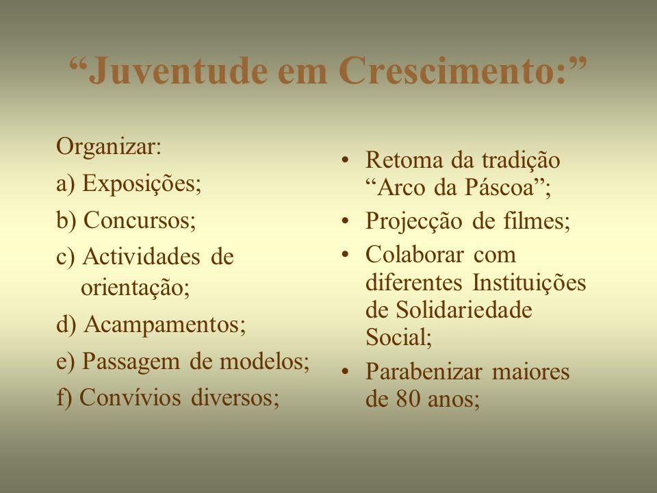 Juventude em Crescimento: Organizar: a) Exposições; b) Concursos; c) Actividades de orientação; d) Acampamentos; e) Passagem de modelos; f) Convívios