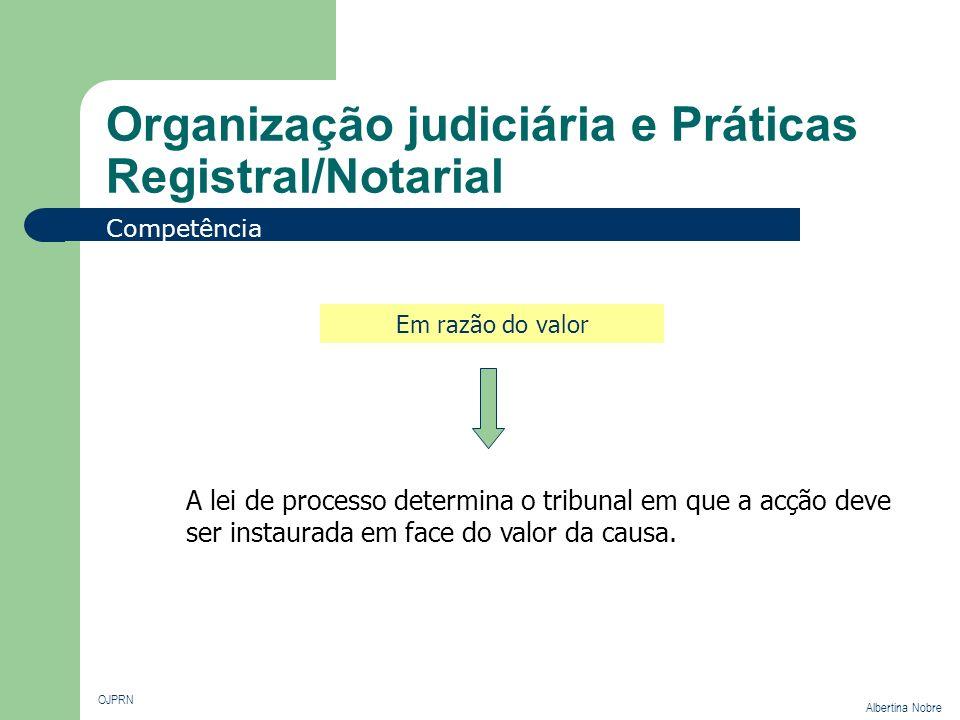 Organização judiciária e Práticas Registral/Notarial OJPRN Albertina Nobre Competência Em razão do valor A lei de processo determina o tribunal em que