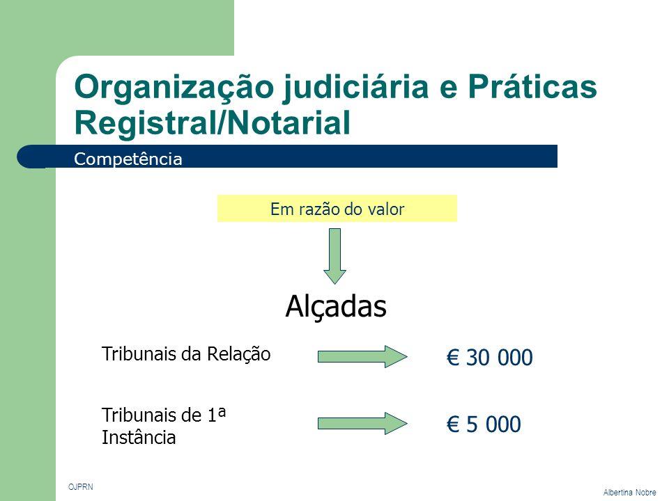 Organização judiciária e Práticas Registral/Notarial OJPRN Albertina Nobre Competência Em razão do valor Tribunais da Relação Alçadas 30 000 Tribunais