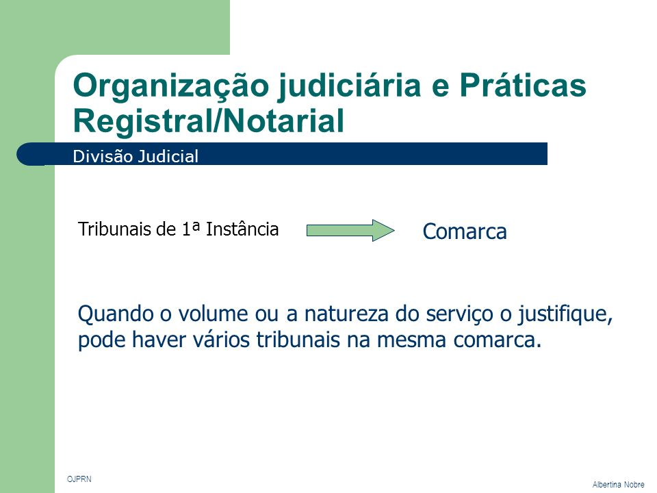 Organização judiciária e Práticas Registral/Notarial OJPRN Albertina Nobre Divisão Judicial Tribunais de 1ª Instância Comarca Quando o volume ou a nat