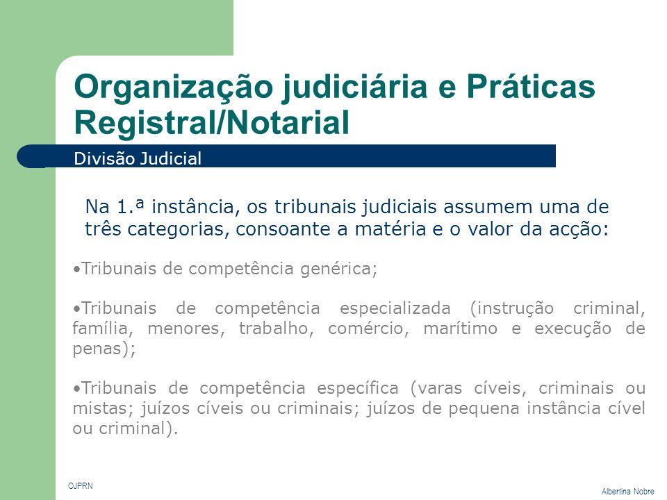 Organização judiciária e Práticas Registral/Notarial OJPRN Albertina Nobre Divisão Judicial Tribunais de competência genérica; Tribunais de competênci
