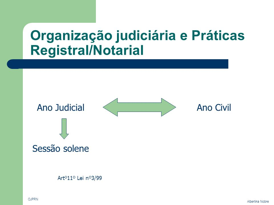 Organização judiciária e Práticas Registral/Notarial OJPRN Albertina Nobre Competência Em razão do valor Tribunais da Relação Alçadas 30 000 Tribunais de 1ª Instância 5 000