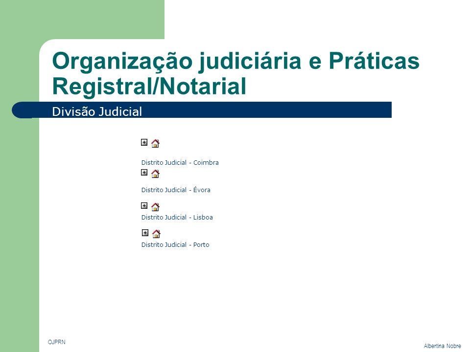 Organização judiciária e Práticas Registral/Notarial OJPRN Albertina Nobre Divisão Judicial Distrito Judicial - Coimbra Distrito Judicial - Évora Dist