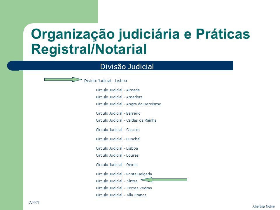 Organização judiciária e Práticas Registral/Notarial OJPRN Albertina Nobre Divisão Judicial Distrito Judicial - Coimbra Distrito Judicial - Évora Círc