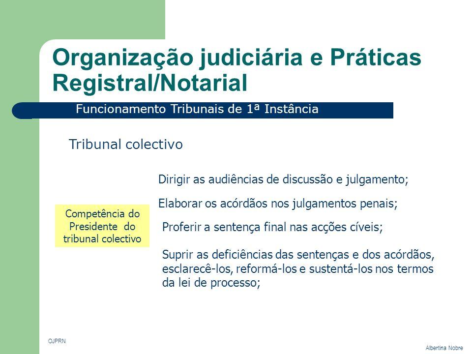 Organização judiciária e Práticas Registral/Notarial OJPRN Albertina Nobre Funcionamento Tribunais de 1ª Instância Tribunal colectivo Competência do P