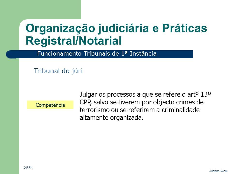 Organização judiciária e Práticas Registral/Notarial OJPRN Albertina Nobre Funcionamento Tribunais de 1ª Instância Tribunal do júri Competência Julgar